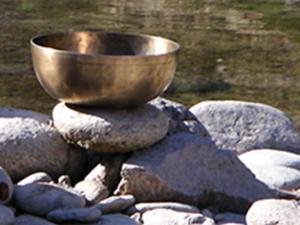 klangschale, wasser, steine